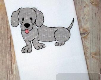 Dachshund dog sketch machine embroidery design