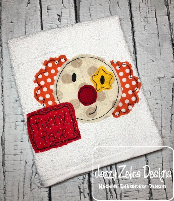 Funny face clown shabby chic appliqué embroidery design - clown appliqué design - circus appliqué design - fair appliqué design -shabby chic
