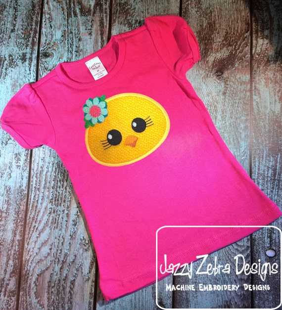 Chick face girl with flower appliqué embroidery design - Easter appliqué design - chick appliqué design - farm appliqué design- baby chick