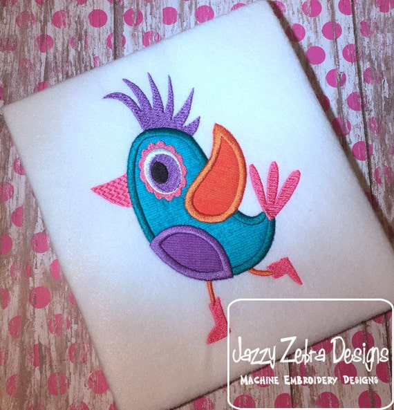 Colorful Girly Bird Applique embroidery design - bird appliqué design - girl appliqué design - spring appliqué design