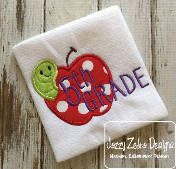 5th grade apple with worm appliqué embroidery design - apple appliqué design - 5th grade appliqué design - fifth grade appliqué design