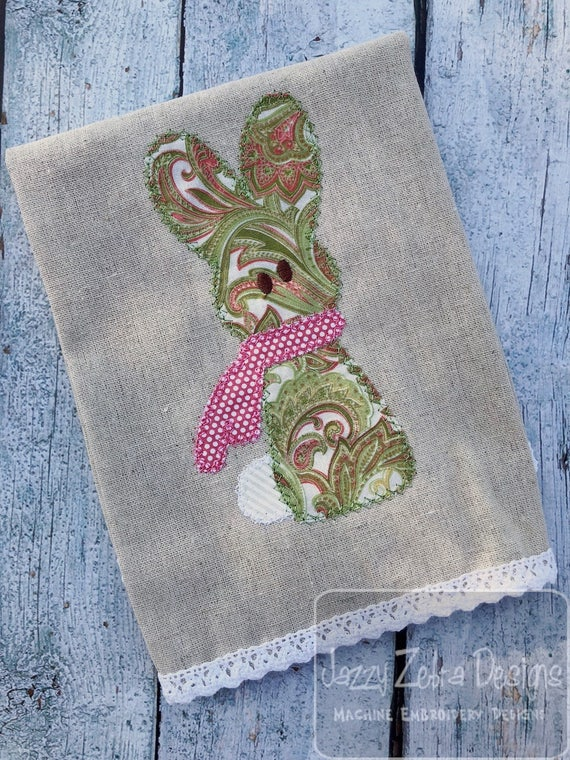 Vintage Stitch Bunny appliqué embroidery design - Easter appliqué design - bunny appliqué design - girl appliqué design -boy appliqué design