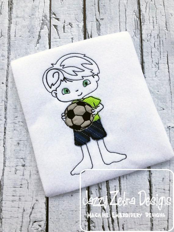 Boy with Soccer ball scrappy appliqué embroidery design - boy appliqué design - soccer appliqué design - summer appliqué design - school