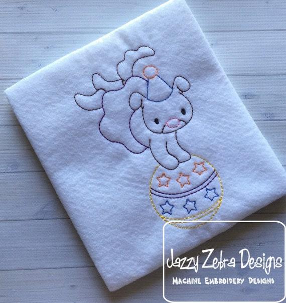 Circus Dog Color Work Embroidery Design - Circus Dog Red Work Embroidery Design - circus Embroidery Design - dog Embroidery Design