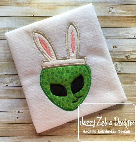 Alien wearing Bunny Ears Appliqué embroidery Design - Easter appliqué design - alien appliqué design