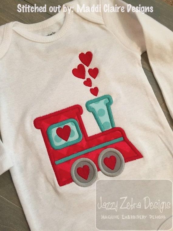 Valentine Train Appliqué Embroidery Design - Valentines day appliqué design - Valentine applique design