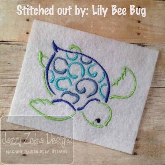 Sea Turtle Satin Stitch Embroidery Design - turtle Embroidery Design - beach Embroidery Design - summer Embroidery Design