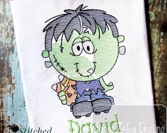 Kid Frankenstein sketch machine embroidery design
