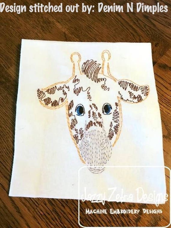 Giraffe Face color work embroidery design - Giraffe embroidery design - safari embroidery design - zoo embroidery design - vintage stitch