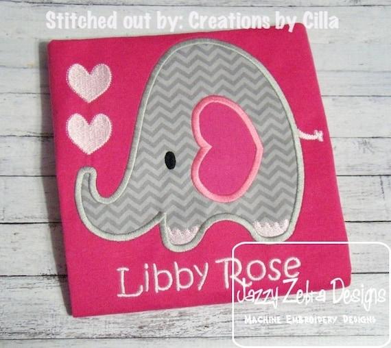 Valentine Elephant Applique Embroidery Design Valentines Day Etsy