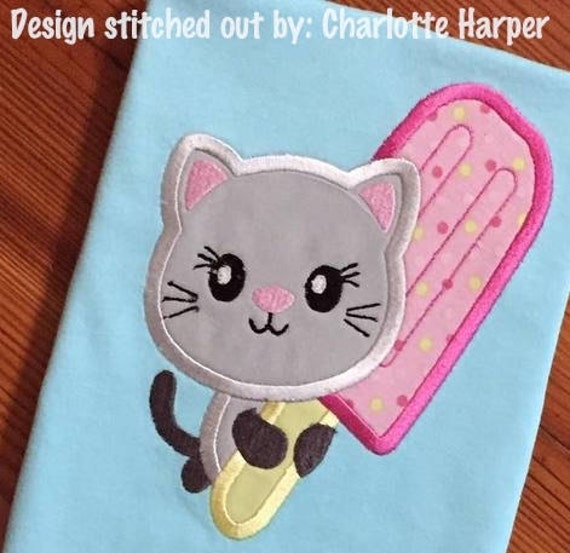 Kitten With Popsicle Applique Machine Embroidery Design Etsy