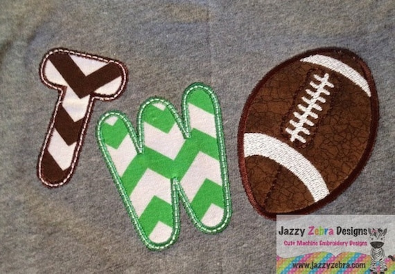 Two Football Appliqué embroidery Design - 2nd birthday appliqué design - two year old