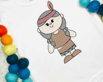 Thanksgiving girl Native American sketch machine embroidery design