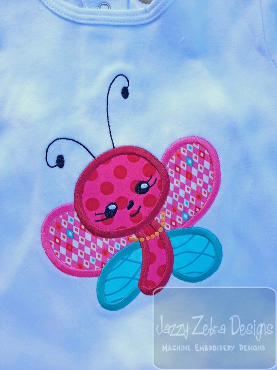 Butterfly girl with her pearls appliqué embroidery design - butterfly appliqué design - girl appliqué design - spring appliqué design - bug