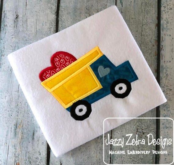 Dump truck with valentine heart appliqué embroidery design - truck appliqué design - Valentines day appliqué design - heart appliqué design