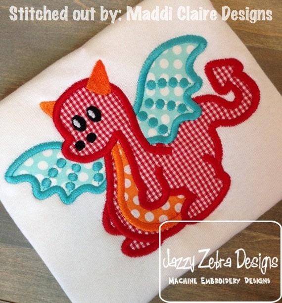 Baby Dragon Appliqué embroidery Design - dragon Applique Design - dinosaur Applique Design