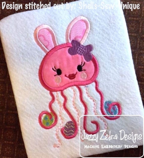 Jellyfish girl dressed as easter bunny with easter eggs appliqué design - Easter appliqué design - girl appliqué design