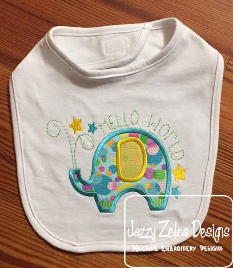 Elephant Hello World Appliqué Machine Embroidery Design Etsy