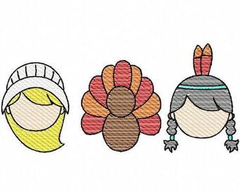 Thanksgiving girl trio, pilgrim, indian and turkey sketch machine embroidery design