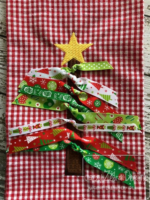 Ribbon Christmas Tree appliqué In the Hoop embroidery design - Christmas tree appliqué design - Christmas Tree in the hoop design -Christmas