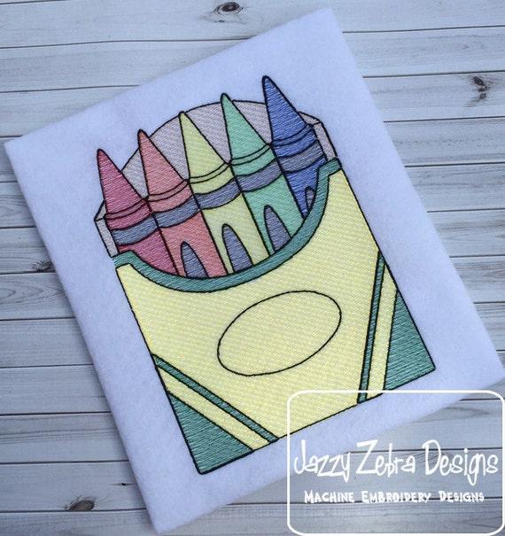 Crayons Sketch Embroidery Design - school Sketch Embroidery Design - teacher Sketch Embroidery Design - crayon Sketch Embroidery Design
