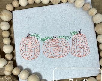 Pumpkin trio scribble machine embroidery design