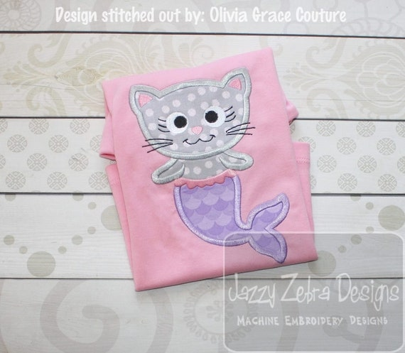 Mermaid Cat Applique Machine Embroidery Design Instant Etsy
