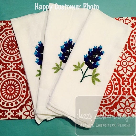 Texas Bluebonnet Filled Embroidery Design Bluebonnet Etsy