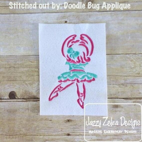 Ballerina 2 Satin Stitch Outline Embroidery Design - ballet Embroidery Design - ballerina Embroidery Design - girl Embroidery Design