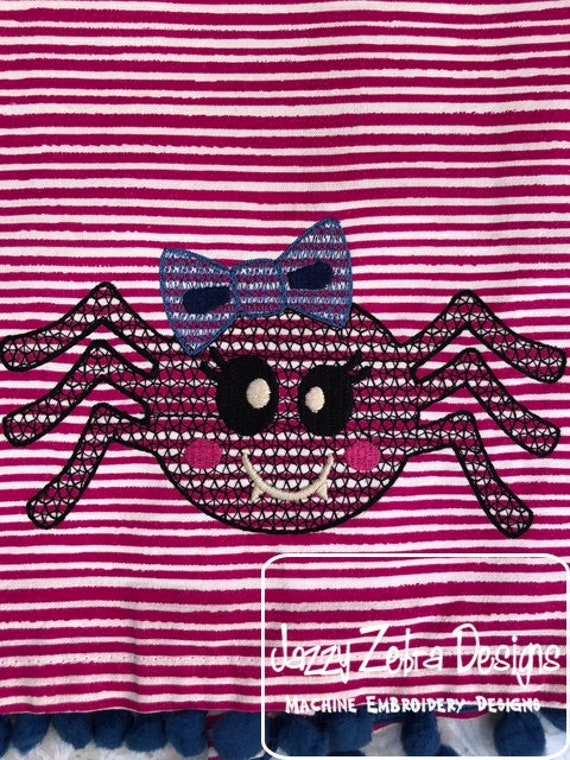 Girl Spider Motif Filled Embroidery Design - Spider Embroidery Design - Halloween Embroidery Design - Girl Embroidery Design - spider design