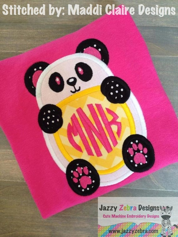 Panda bear Monogram frame Applique embroidery Design - bear Appliqué Design - panda Appliqué Design - monogram frame Applique Design