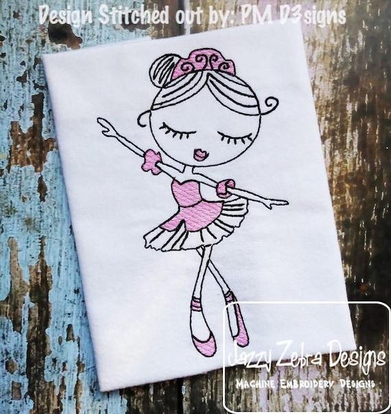 Swirly Ballerina 1 Sketch embroidery design - Ballerina embroidery design - ballet embroidery design - girl embroidery design - dance