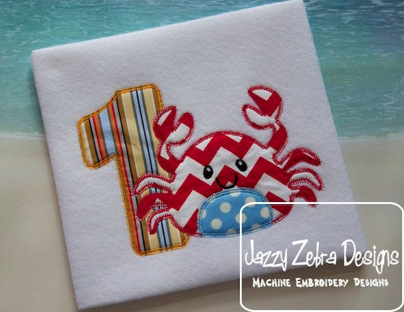 One Crab Appliqué Embroidery Design with Diagonal Square Stitching - 1st birthday appliqué design - one year old