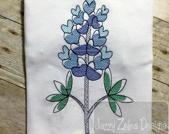 Blue Bonnet flower sketch machine embroidery design