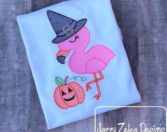 Flamingo Witch sketch machine embroidery design