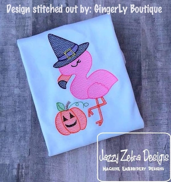 Flamingo Witch Sketch Embroidery Design - Flamingo Embroidery Design - Sketch Embroidery Design - Witch Embroidery Design - Halloween design