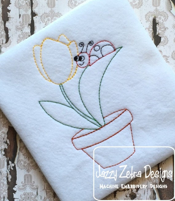 Tulip with Lady Bug Color Work Embroidery Design - Tulip with Lady Bug red Work Embroidery Design - tulip Embroidery Design - flower