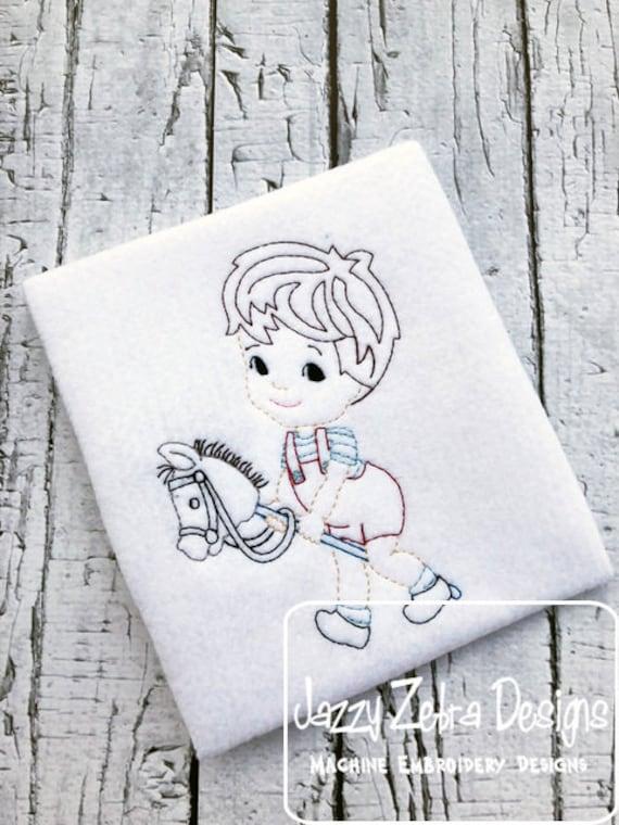 Vintage boy with stick horse color work embroidery design - boy embroidery design - stick horse embroidery design - color work embroidery
