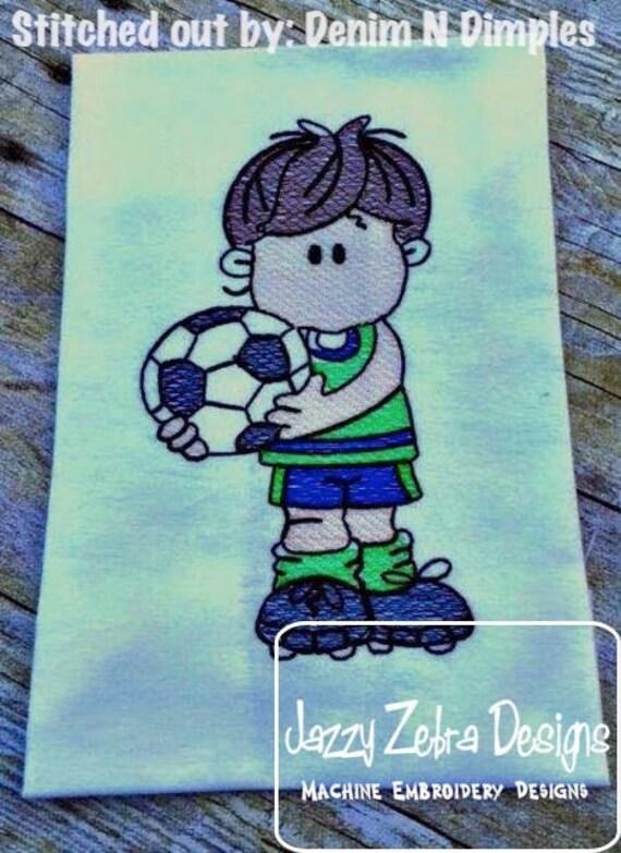 Fussball Spieler Skizze Maschine Stickerei Design Sofortiger Download Gestaltung