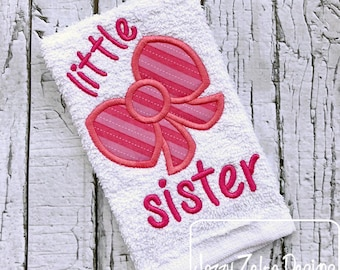 Little sister saying bow appliqué machine embroidery design