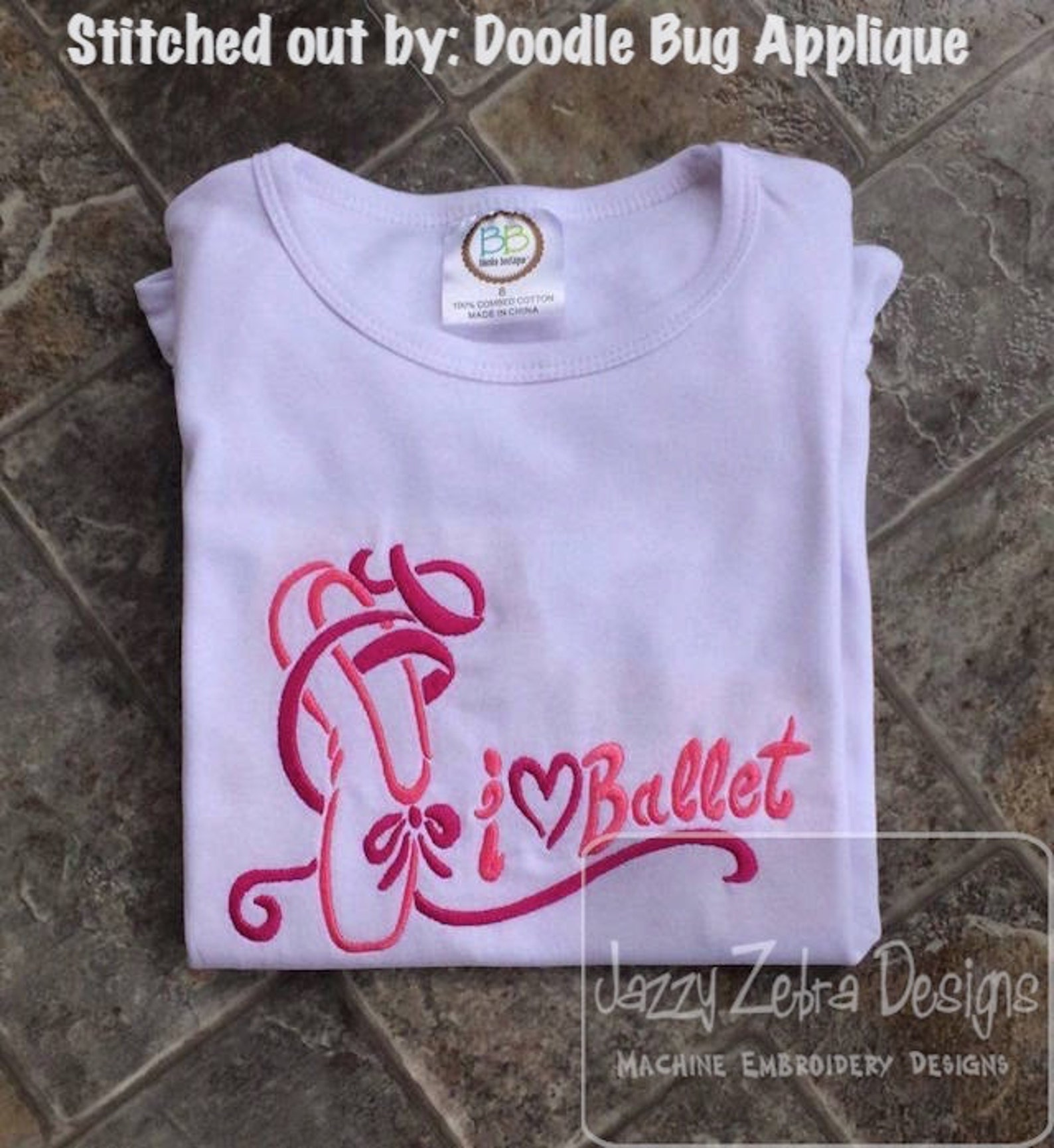 i love ballet machine embroidery design - instant download design