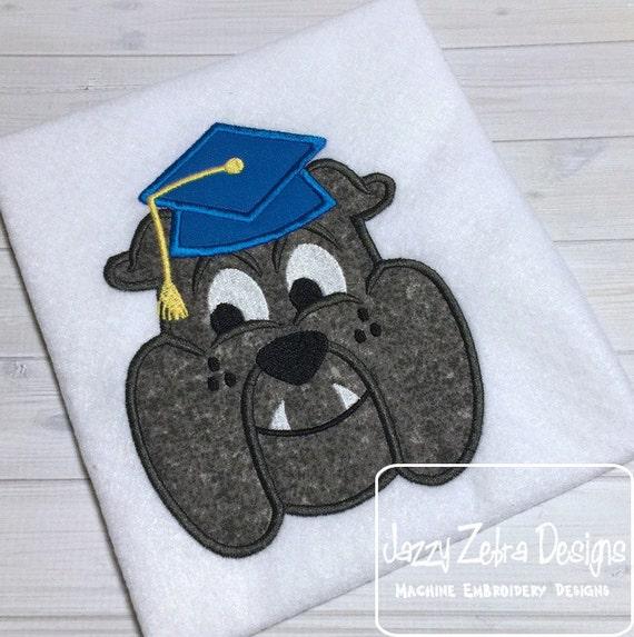 Graduation Bulldog Appliqué embroidery Design - school appliqué design - graduation appliqué design - mascot appliqué design
