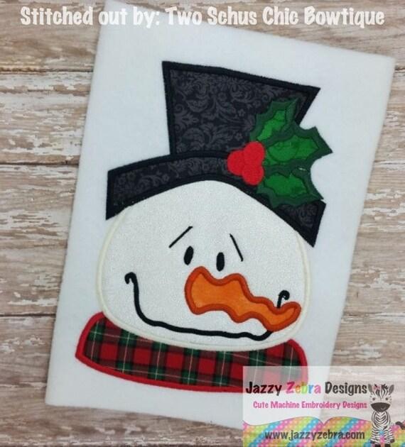 Snowman Head 3 Appliqué embroidery Design - snowman Applique Design - winter Appliqué Design - Christmas Appliqué Design - snow man Applique