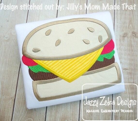 Cheeseburger Applique embroidery design - burger applique design - food applique design - cook out applique design - picnic applique design