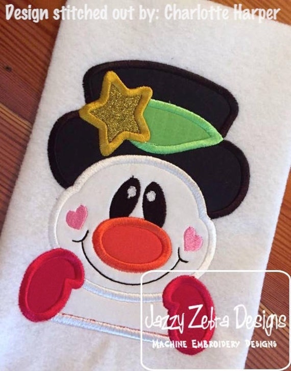 Snowman face 120 Appliqué Embroidery Design - Snowman appliqué design - winter appliqué design - snow man appliqué design - Christmas