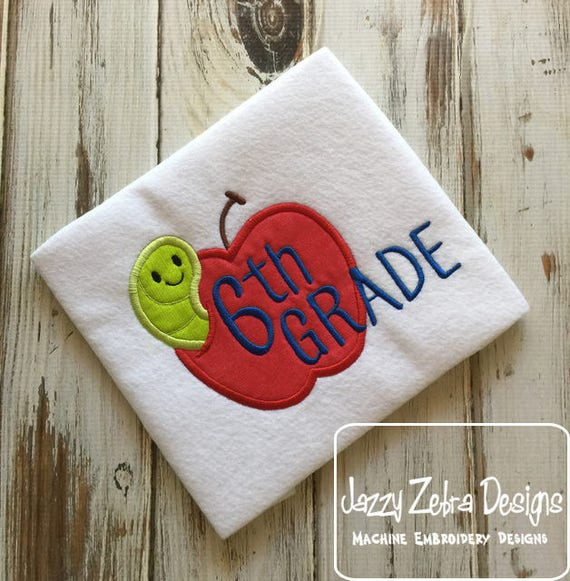 6th grade apple with worm appliqué embroidery design - apple appliqué design - 6th grade appliqué design - sixth grade appliqué design