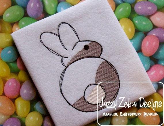 Bunny Sketch Embroidery Design - Easter Sketch Embroidery Design - Rabbit Sketch Embroidery Design