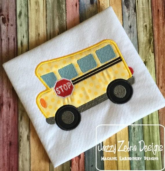 School Bus 105 Appliqué Embroidery Design - school appliqué design - bus appliqué design
