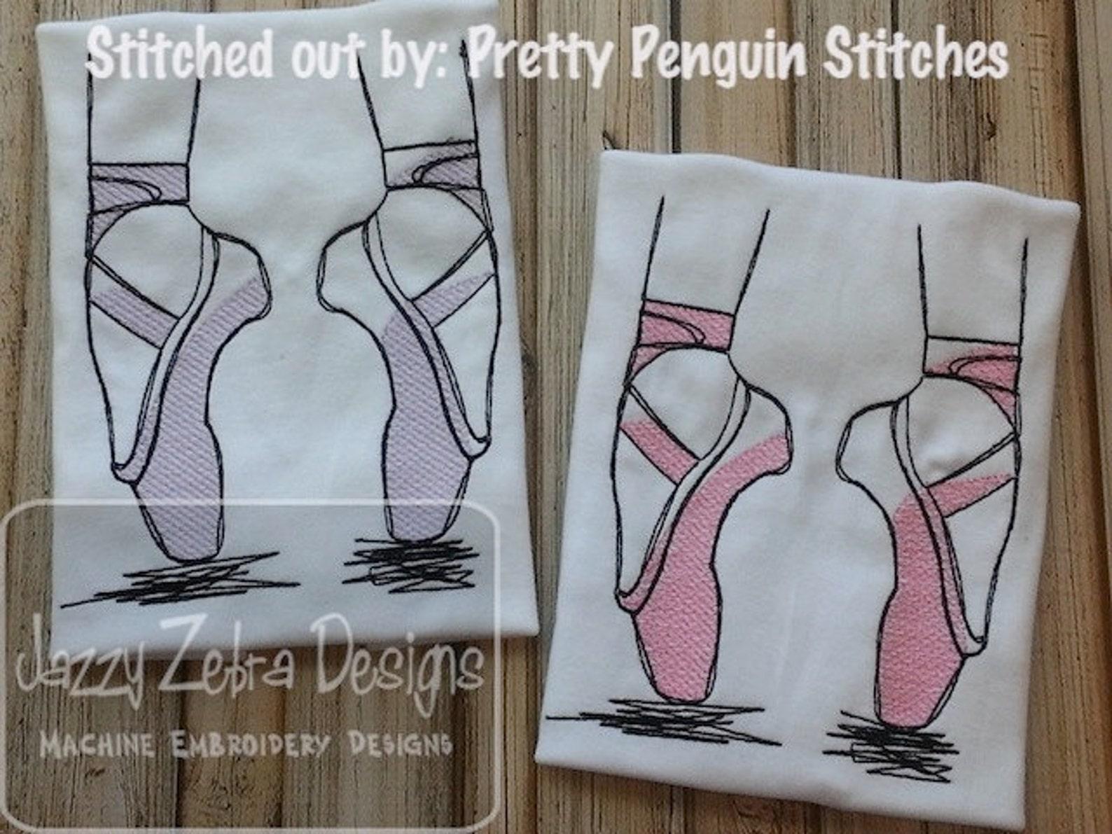 ballet shoes sketch machine embroidery design - instant download design
