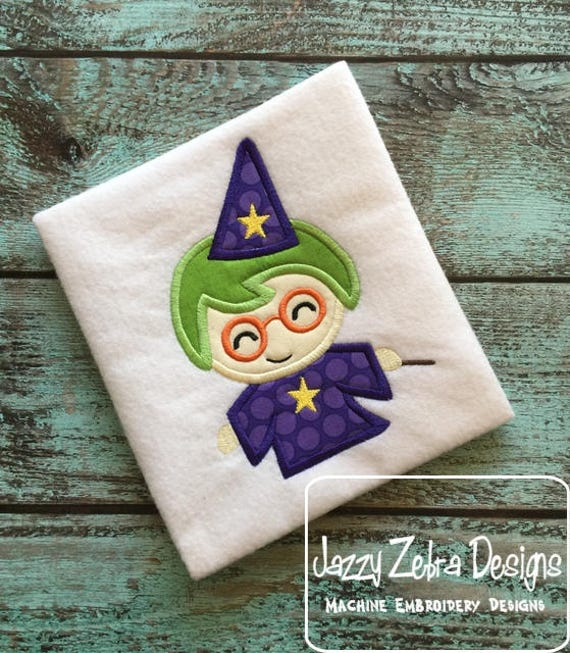 Wizard appliqué embroidery design - Warlock appliqué embroidery design - halloween appliqué design - witch appliqué design - boy appliqué